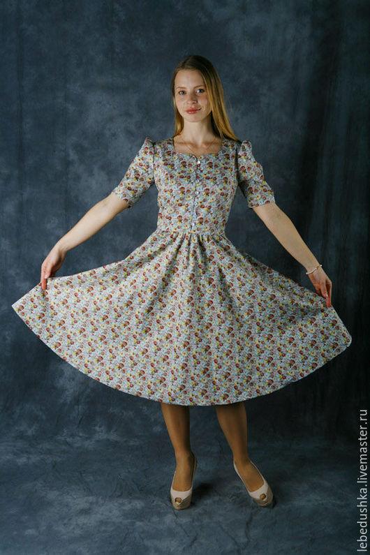 """Платья ручной работы. Ярмарка Мастеров - ручная работа. Купить Летнее миди платье """"Римские каникулы"""". Handmade. Комбинированный"""