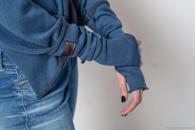 Митенки_джинс_жен Митенки вязаные женские, цвет джинс/черный, Митенки, Москва,  Фото №1