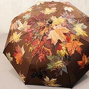 Аксессуары handmade. Livemaster - original item Folding umbrella with painted Autumn leaves chocolate brown machine. Handmade.