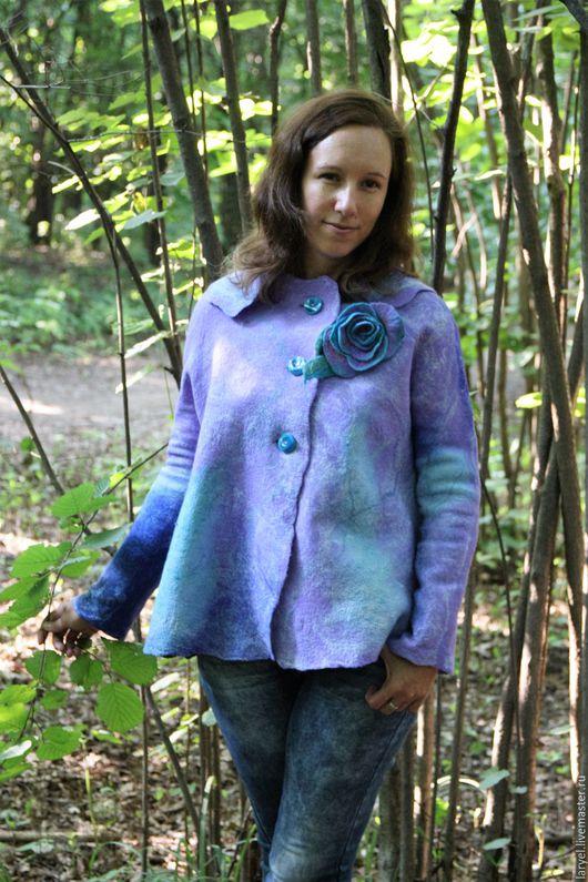 Пиджаки, жакеты ручной работы. Ярмарка Мастеров - ручная работа. Купить Пальто валяное. Музыка волн. Handmade. Голубой