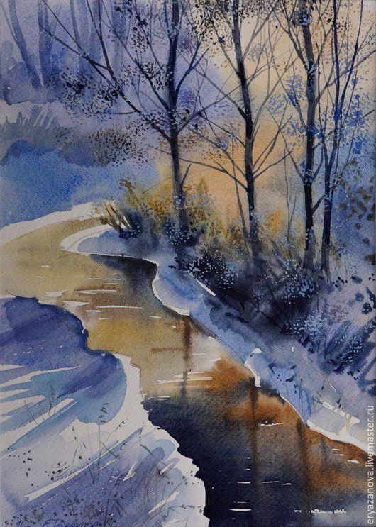 Пейзаж ручной работы. Ярмарка Мастеров - ручная работа. Купить Картина акварелью Зимняя речка. Handmade. Комбинированный, пейзаж