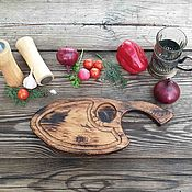 Посуда handmade. Livemaster - original item Board for filing a steak and grill Cleaver from solid oak with a kiln. Handmade.