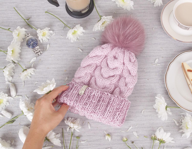 Шапки ручной работы. Ярмарка Мастеров - ручная работа. Купить Вязаная шапка с косами. Handmade. Вязаная шапка, стильная шапка.