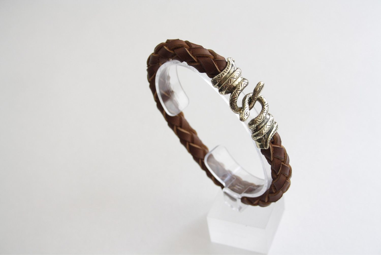 Кожаный браслет - Змей, Браслет из бусин, Волгоград,  Фото №1