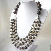 Necklace handmade. Livemaster - original item Elegant NECKLACE 3 strands, SMOKY QUARTZ, GREEN AMETHYST beads.. Handmade.