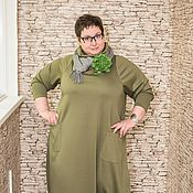 Одежда ручной работы. Ярмарка Мастеров - ручная работа Платье трикотажное длинное большого размера. Handmade.