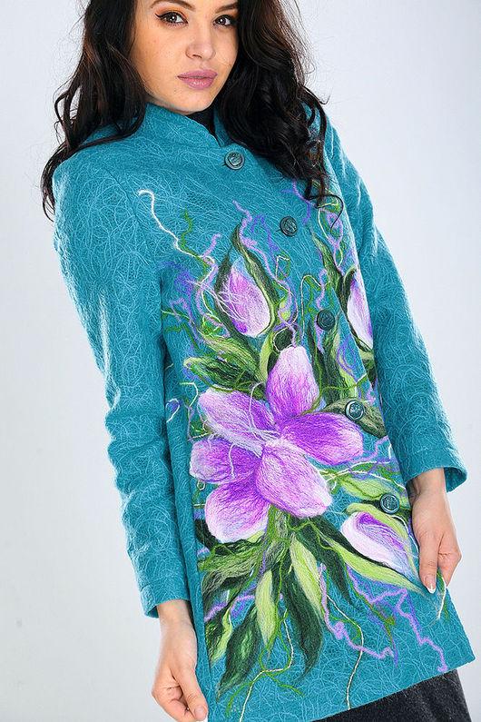 Верхняя одежда ручной работы. Ярмарка Мастеров - ручная работа. Купить ПП (П) 02. Handmade. Цветочный, модное пальто