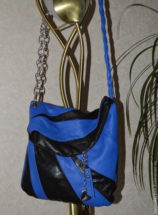 Женские сумки ручной работы. Ярмарка Мастеров - ручная работа. Купить Сумка сине-черная из  мягкой кожи. Handmade. Абстрактный