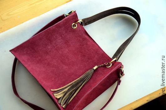Женские сумки ручной работы. Ярмарка Мастеров - ручная работа. Купить Кожаный шоппер, размер S. Handmade. Бордовый, шопер