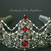 Украшения handmade. Livemaster - original item The tiara is beaded with crystals. Silver, Burgundy, red. Handmade.