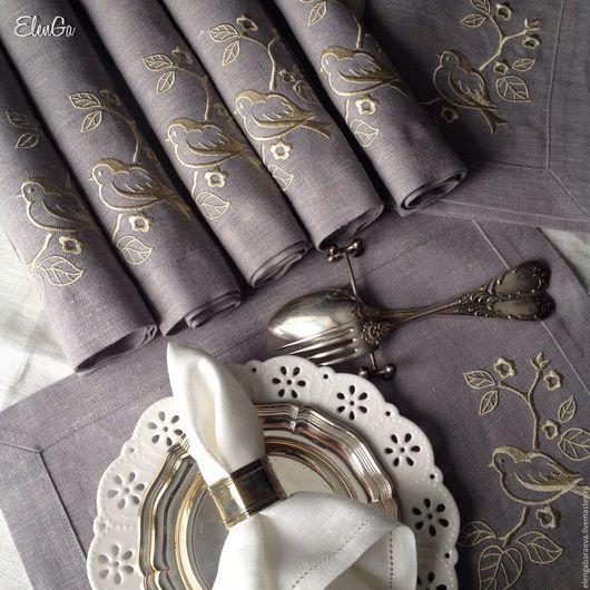 Текстиль, ковры ручной работы. Ярмарка Мастеров - ручная работа. Купить Ланчмат салфетка скатерть с вышивкой - Весенняя птичка на ветке. Handmade.