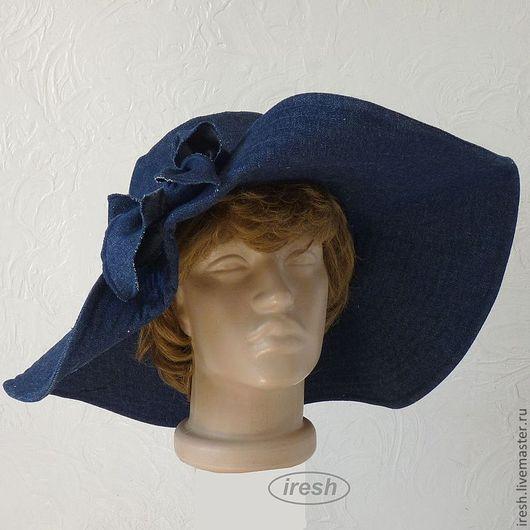 """Шляпы ручной работы. Ярмарка Мастеров - ручная работа. Купить Шляпа """"Джинсомания"""" широкополая летняя. Handmade. Синий, модная шляпа"""