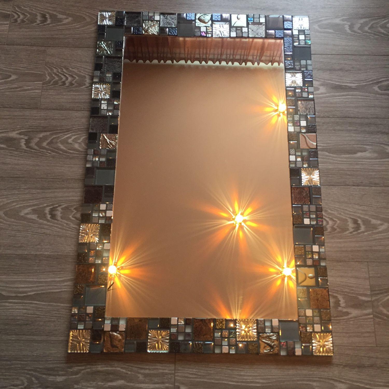 """Среднее зеркало в мозаике """"Серебро"""""""