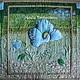 """Картины цветов ручной работы. Ярмарка Мастеров - ручная работа. Купить Квилт """"Цветет меконопсис"""". Handmade. Бирюзовый, картина-подарок"""