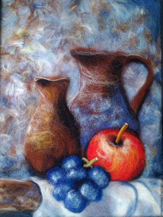 Натюрморт ручной работы. Ярмарка Мастеров - ручная работа. Купить Картина из шерсти Натюрморт с яблоком и виноградом. Handmade. Комбинированный, яблоко