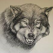"""Картины и панно ручной работы. Ярмарка Мастеров - ручная работа Картина """"Волк"""". Handmade."""