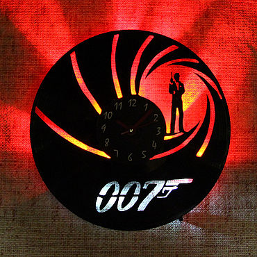 For home and interior handmade. Livemaster - original item Wall clock with led light from plate 007. Handmade.