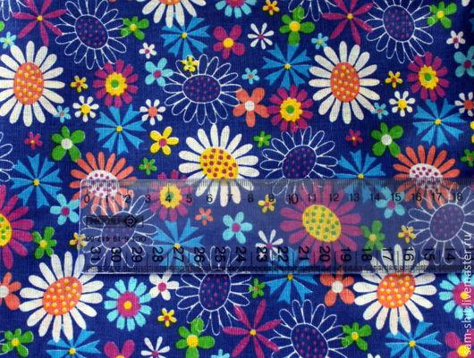 Шитье ручной работы. Ярмарка Мастеров - ручная работа. Купить Отрез хлопка цветы 50х75 см. Handmade. Голубой