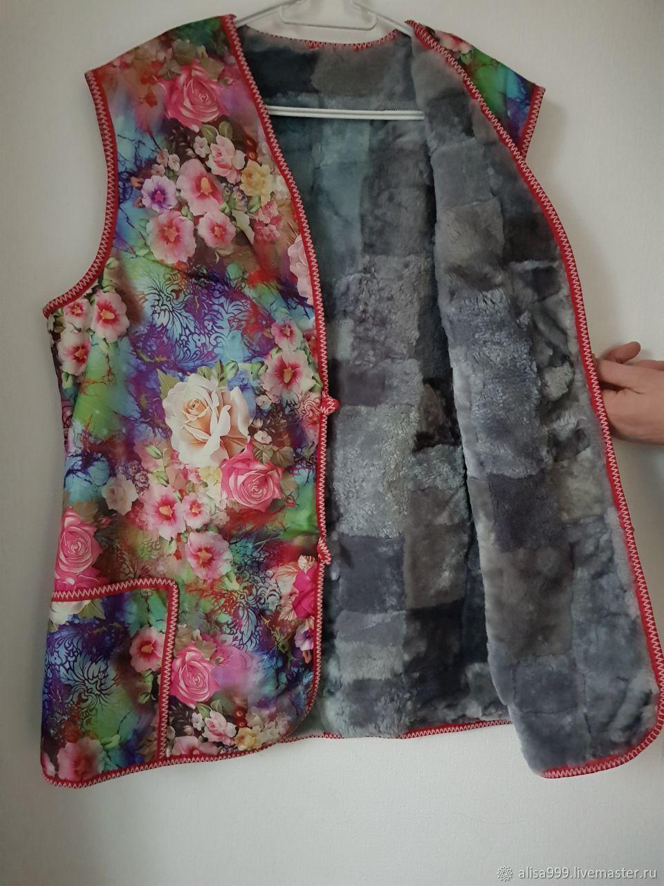 Women's sheepskin vest 54 ' Flowers', Vests, Moscow,  Фото №1