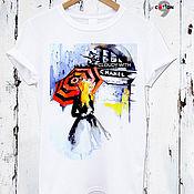 Одежда handmade. Livemaster - original item White cotton t-shirt with print - TEE10222CT. Handmade.