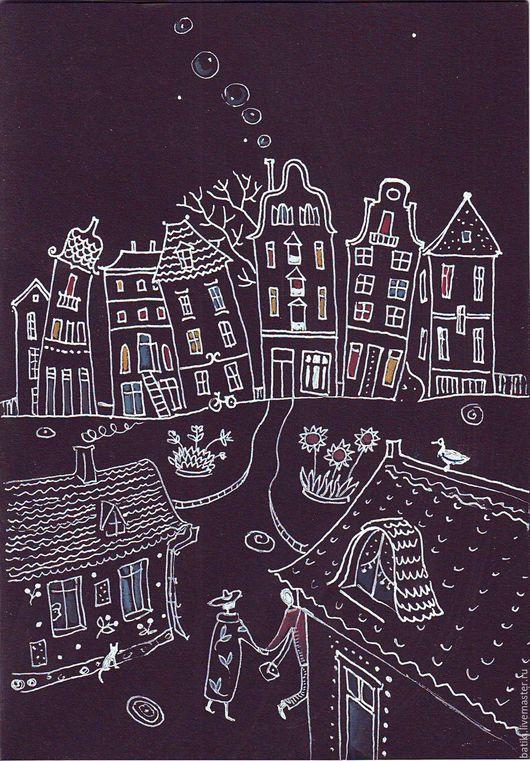 Город ручной работы. Ярмарка Мастеров - ручная работа. Купить Влюбленные в ночь. Handmade. Черный, город, городской пейзаж, любовь