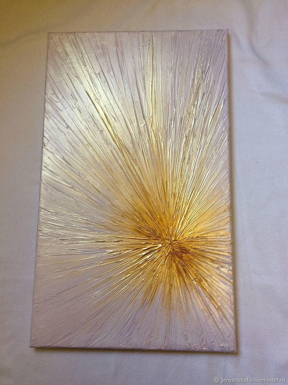 Картина абстракция «Сияние» белый с золотом 30х50 см