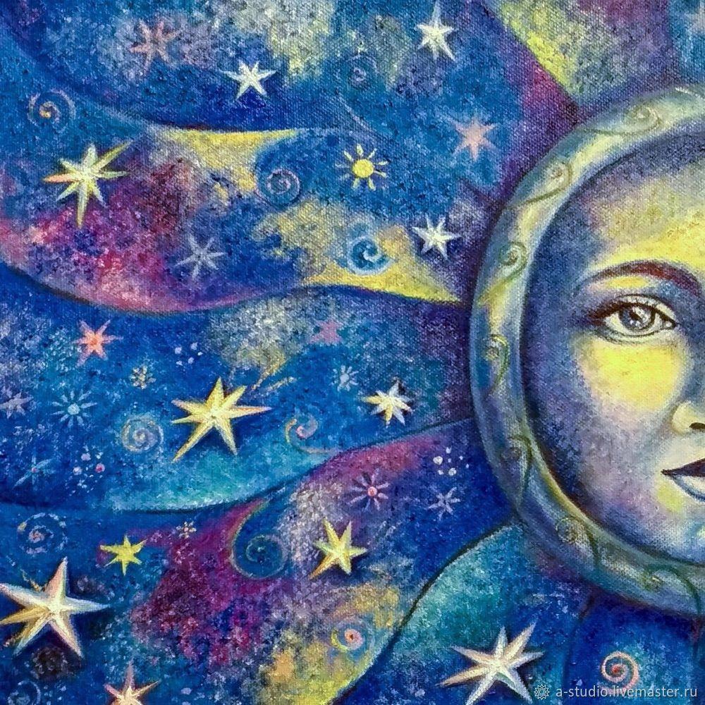 Картина маслом Стальная Луна ( пара к Каменному Солнцу), Картины, Оренбург,  Фото №1