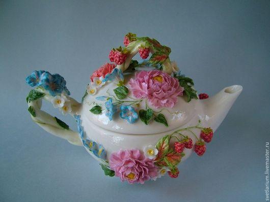 Чайники, кофейники ручной работы. Ярмарка Мастеров - ручная работа. Купить Чайник Сладка-ягода. Handmade. Чайник, пион, глазурь