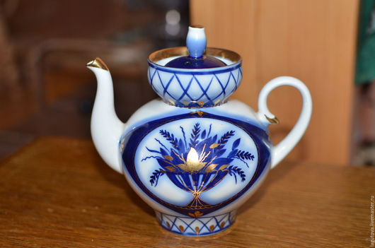 Винтажная посуда. Ярмарка Мастеров - ручная работа. Купить Заварочный чайник. ЛФЗ фарфор кобальт- новый. Handmade. Тёмно-синий