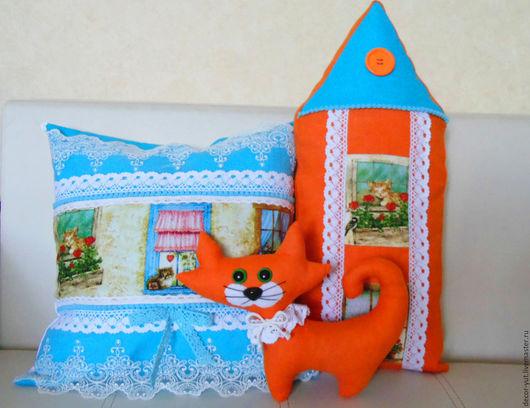 """Текстиль, ковры ручной работы. Ярмарка Мастеров - ручная работа. Купить Комплект  подушек """"Кошкин дом"""". Handmade. Рыжий, кошка"""
