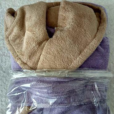 Одежда ручной работы. Ярмарка Мастеров - ручная работа Халат с капюшоном 4-6лет велюр-махра. Handmade.