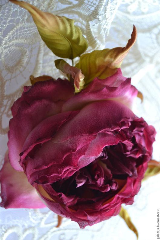 Заколки ручной работы. Ярмарка Мастеров - ручная работа. Купить Цветы из шелка Роза Селестина. Handmade. Бордовый