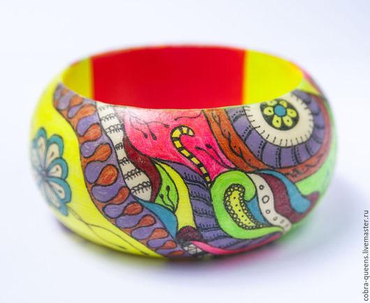 """Браслеты ручной работы. Ярмарка Мастеров - ручная работа. Купить """"Цветное настроение"""" деревянный браслет, зентангл, роспись. Handmade. Zentangle"""