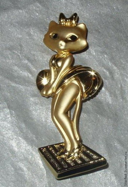 """Винтажные украшения. Ярмарка Мастеров - ручная работа. Купить Брошь """"Кошечка  Мерилин"""" под золото (Danecraft США). Handmade. Оранжевый"""