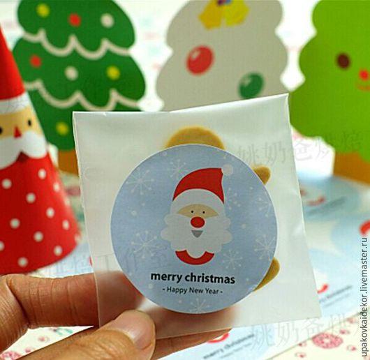 Упаковка ручной работы. Ярмарка Мастеров - ручная работа. Купить Новогодние наклейки Санта декор подарков на новый год. Handmade. Голубой