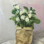 Картины и панно handmade. Livemaster - original item Snow bouquet oil on canvas 40-30 cm. Handmade.