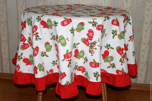 """Текстиль, ковры ручной работы. Ярмарка Мастеров - ручная работа. Купить Праздничная скатерть """"Новогодние варежки"""". Handmade. Ярко-красный"""