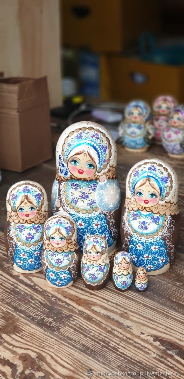 Матрешка 7мест 20см Танюша жженка голубая, Матрешки, Москва, Фото №1
