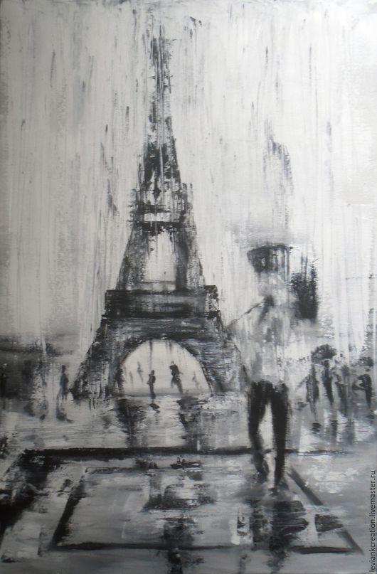 """Город ручной работы. Ярмарка Мастеров - ручная работа. Купить """"Я придумала этот Париж..."""". Handmade. Серый, романтичная картина"""