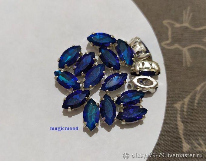 1pcs Czech rhinestones 10h5mm Bermuda Blue Navette Czech rhinestones in DAC, Rhinestones, Chelyabinsk,  Фото №1