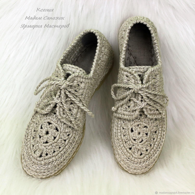 Обувь ручной работы. Ярмарка Мастеров - ручная работа. Купить Мокасины льняные со шнурками женские. Handmade. Бежевый