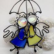 """Подарки к праздникам ручной работы. Ярмарка Мастеров - ручная работа Витражные ангелы """" Под одним зонтом"""" - ангелы хранители.. Handmade."""