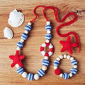Работы для детей, ручной работы. Ярмарка Мастеров - ручная работа Комплект украшений для девочки в морском стиле. Handmade.