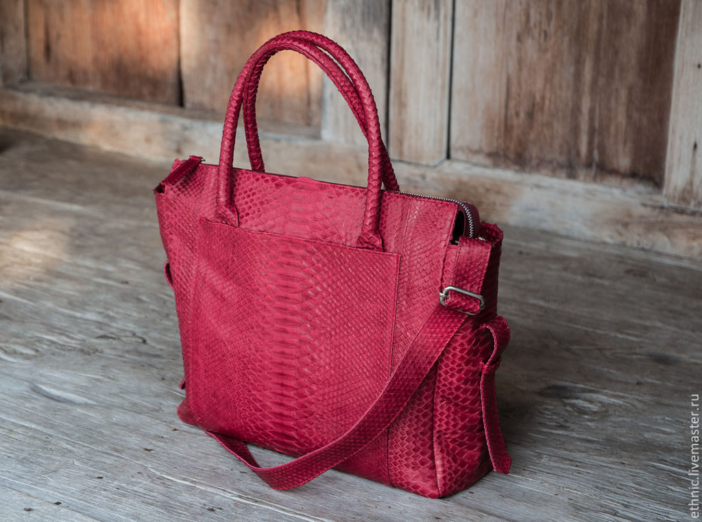 Bag Genuine Python Leather Cherry Jelly Made Of