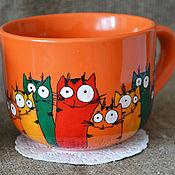Посуда ручной работы. Ярмарка Мастеров - ручная работа Кружки с котами, коты, чашка с котами, кружка с росписью. Handmade.