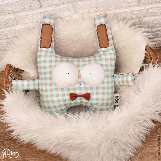 Текстиль, ковры ручной работы. Ярмарка Мастеров - ручная работа. Купить Подушка-игрушка Заяц в клетку. Handmade. Голубой