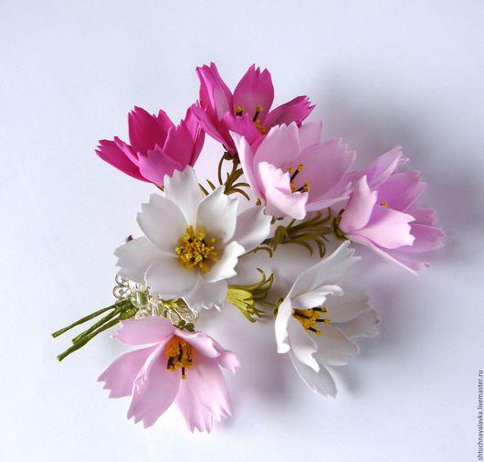 Броши ручной работы. Ярмарка Мастеров - ручная работа. Купить Космея. Бутоньерка, брошь, заколка для волос. Handmade. Розовый, цветы
