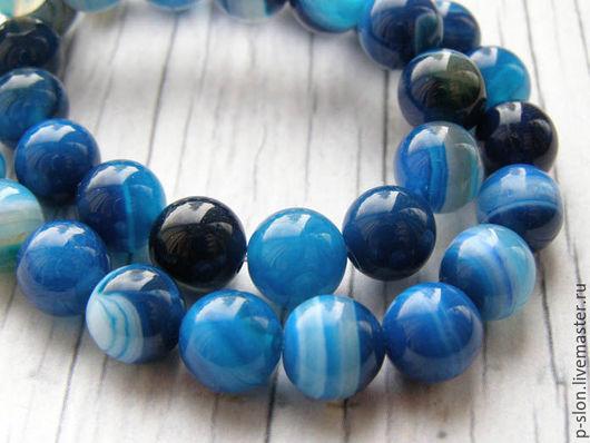 Для украшений ручной работы. Ярмарка Мастеров - ручная работа. Купить Бусины круглые голубой агат 8мм, Б80. Handmade.