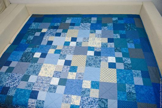Текстиль, ковры ручной работы. Ярмарка Мастеров - ручная работа. Купить Лоскутное покрывало. Handmade. Тёмно-синий, ручная работа