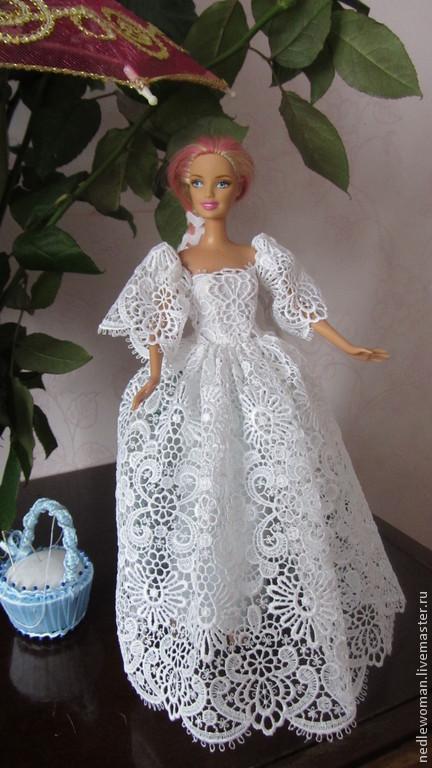 Одежда для кукол ручной работы. Ярмарка Мастеров - ручная работа. Купить Свадебное платье для Барби. Handmade. Белый, подарок